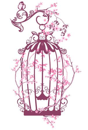 開花木の枝 - 春シーズン ベクトル設計の中でビンテージ鳥籠