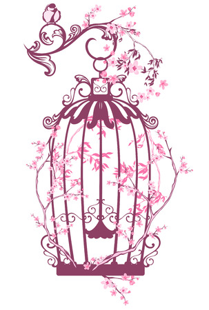 bird cage: vintage bird cage among blooming tree branches - spring season vector design