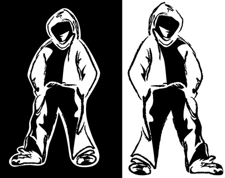 urban street style guy - young man wearing hoodie black and white vector design Vettoriali