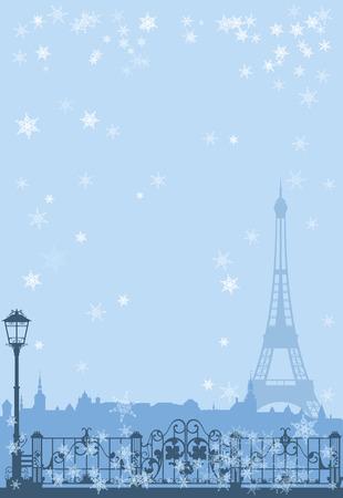 Paris l'hiver fond - Tour Eiffel parmi tomber conception de vecteur de neige Banque d'images - 34387560