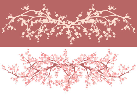 cherry blossom tree: spring season asian style cherry blossom - sakura branches decorative vector design Illustration