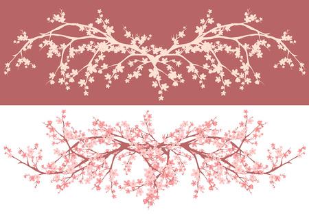 cerezos en flor: temporada de primavera asiático estilo flor de cerezo - ramas de sakura vector de diseño decorativo Vectores
