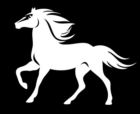 horses in the wild: white horse on black - running animal profile silhouette vector design