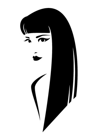black hair girl: beautiful brunette woman with long straight hair style - black and white simple vector design