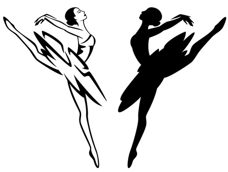 dancing silhouettes: ballet dancer girl - black and white ballerina outline and vector silhouette