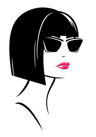 beautiful brunette woman with short page boy haircut wearing sunglasses - fashion vector design  イラスト・ベクター素材