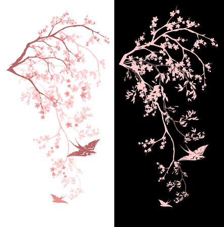 swallow: spring season blossom decorative design - blooming sakura branches vector design