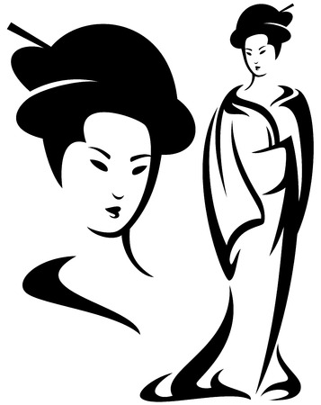 geisha black and white vector illustration - beautiful face and standing woman design Çizim