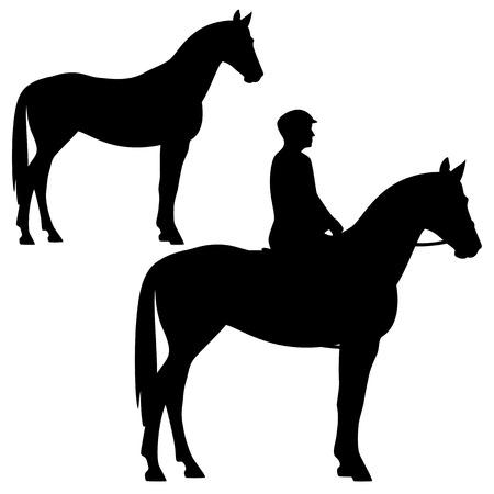 uomo a cavallo: cavallo e cavaliere - in piedi animale profilo silhouette - in bianco e nero disegno vettoriale Vettoriali