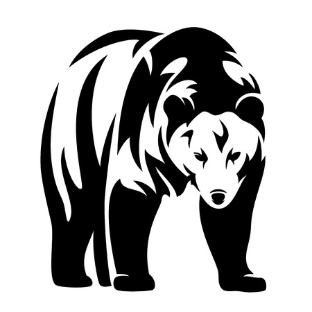 standing: grizzly bear black and white vector design - standing animal monochrome outline