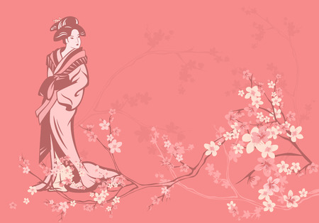 spring season vector background with beautiful Japanese geisha and sakura flowers
