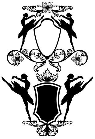ballerina silhouette: ballet dancer black and white emblems - ballerina silhouettes and vector design elements