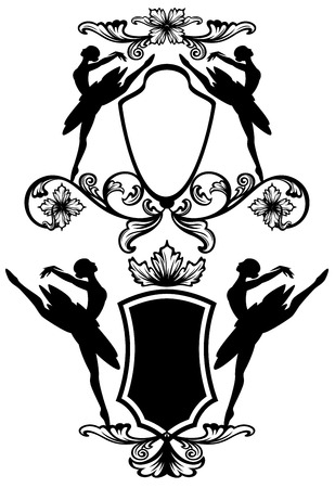 ballet dancer black and white emblems - ballerina silhouettes and vector design elements