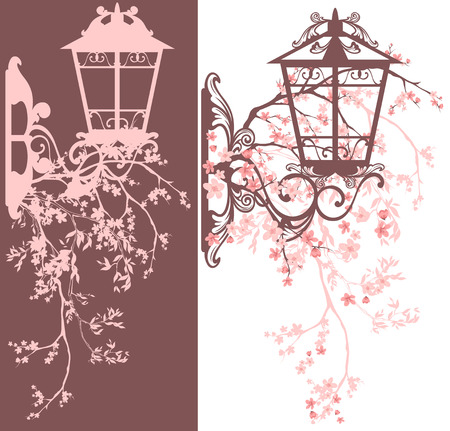 street lamp: spring season street light decor - wall lamp among blooming tree branches vector design