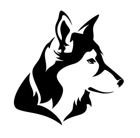 dog profile head - black and white vector animal