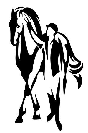 uomo a cavallo: cavallo e cavaliere in piedi - in bianco e nero disegno vettoriale