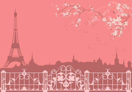 spring Paris vector background - eiffel tower and roofs silhouette among flowers Ilustração