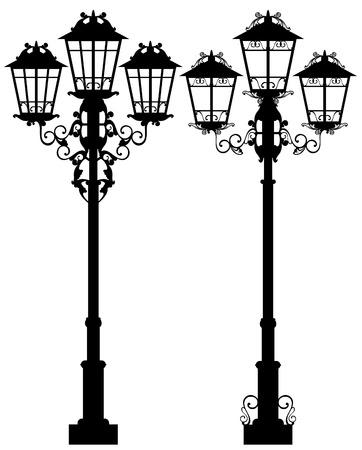 gas lamp: elegant street light design - ornate lamp black and white vector silhouettes Illustration