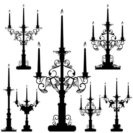 우아한 촛대 검은 색과 흰색 디자인 세트 - 내부 장식 벡터 실루엣 컬렉션