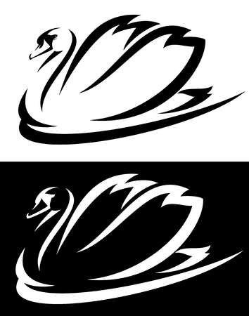 mute swan (Cygnus olor) bird black and white vector design
