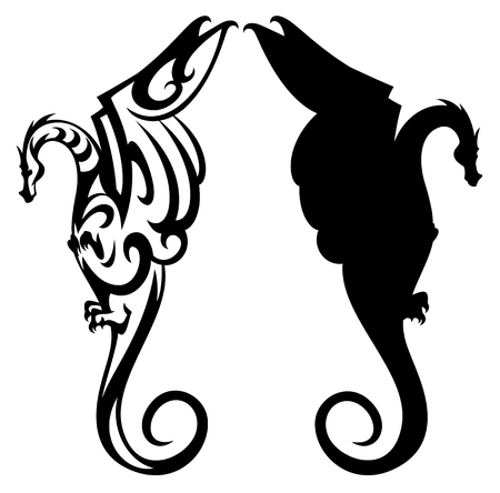 dragon black and white vector design and silhouette