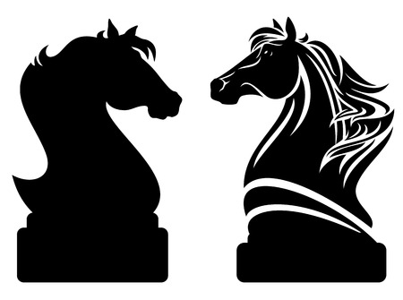chess knight design - black horse profile and vector outline Vettoriali