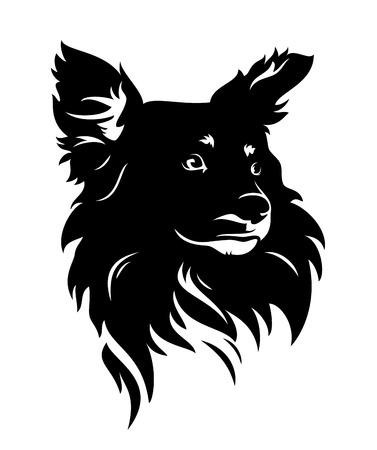 cute dog head - black and white puppy vector portrait