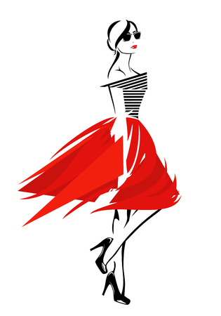 fashion vector: fashion girl in red skirt and striped top - trendy vector design Illustration
