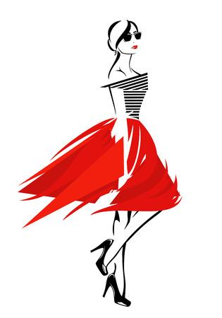 bocetos de personas: la chica de moda en falda roja y top de rayas - dise�o del vector de moda