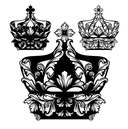 monarchy: royal crown black and white design set - luxurious vector collection