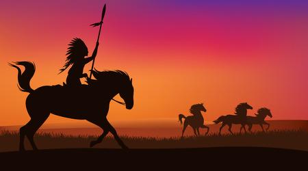 indio americano: escena salvaje oeste con los caballos y jinete nativo americano - Paisaje del vector con las siluetas