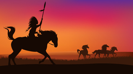 scene: wild west scene with horses and native american rider - vector landscape with silhouettes