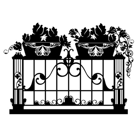 forged: elegant iron balcony with rose flower pots  - black anw white vector silhouette design Illustration