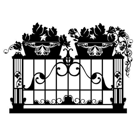 on the balcony: elegant iron balcony with rose flower pots  - black anw white vector silhouette design Illustration