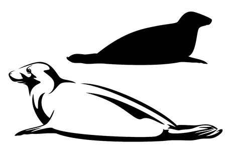 바다 인감 흑인과 백인 벡터 디자인과 실루엣 일러스트