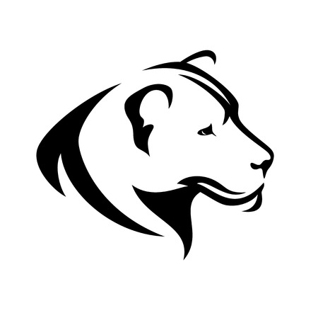 animal heads: lioness head black and white profile - simple vector design