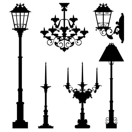 street lamps and interior lighting collection - black vector silhouettes set Çizim
