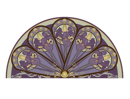 art nouveau vintage: iris flower decorative design element - floral vector design