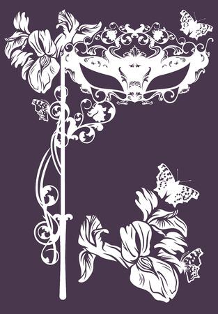 iris flower: elegant carnival mask with iris flower - monochrome floral vector design