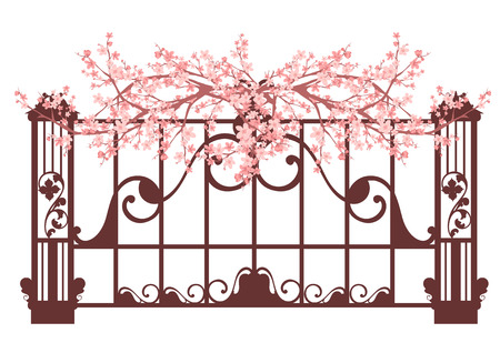 wrought iron: spring fence with pink blooming flowers vector design