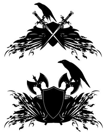 heraldic shields with swords, axes and raven birds - black and white vector design