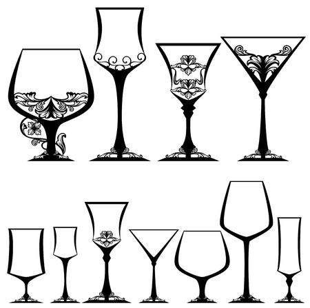 stemware: ornate glasses black and white design collection - stemware vector set