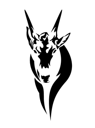 African antelope (common eland) head black and white vector design Illustration