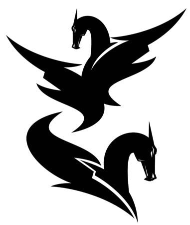 dragon design - black and white vector set