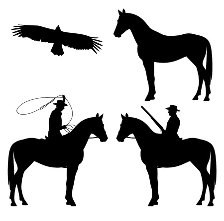 wrangler: wild west theme black and white vector silhouette set - cowboy, horse and eagle design