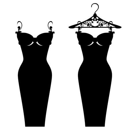 robe noire: �l�gant design peu de robe noire Illustration
