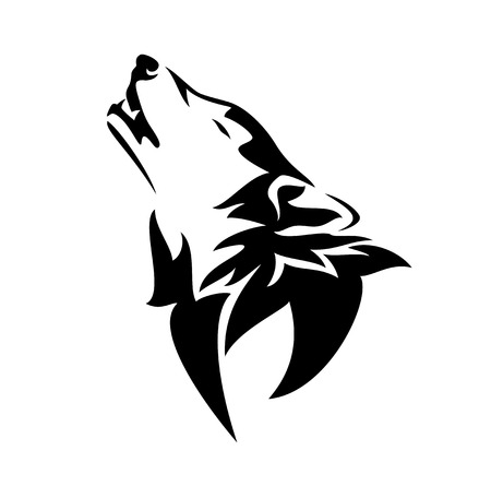 howling wolf design - black and white animal head outline vector Illustration