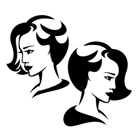 short: beautiful woman with short hair black and white vector design Illustration