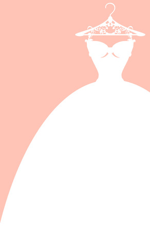 wedding dress on a hanger - elegant pink and white vector card design Ilustração