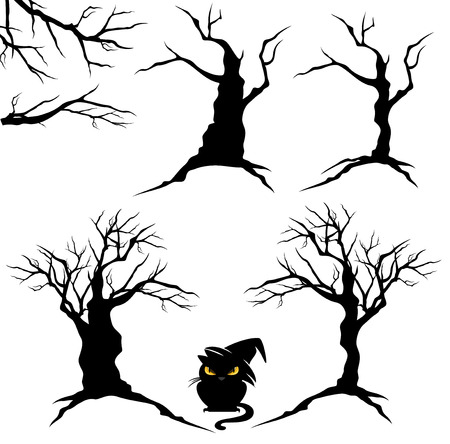 halloween tree: creepy trees with twisted trunks and branches - black and white halloween vector design set